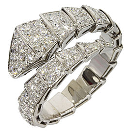 Bulgari Serpenti 18K White Gold Row Diamond Ring Size 10.5