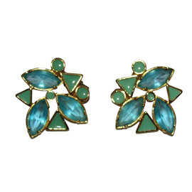 Yves Saint Laurent Gold Plated Blue Rhinestone and Blue Enamel Earrings