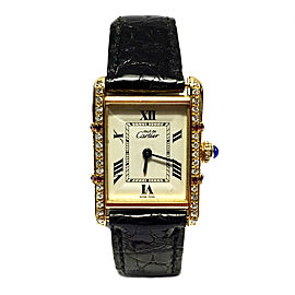 Cartier Must de Cartier Tank Vermeil 18K Yellow Gold Plated Sterling Silver Leather Diamond & Ruby 22.50mm Watch