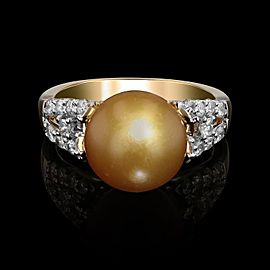 18K Yellow Gold Cultured Golden South Sea Pearl Diamond Ring Size 7.5