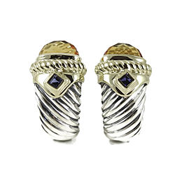 David Yurman 925 Sterling Silver & 14K Yellow Gold Citrine & Iolite Renaissance Earrings
