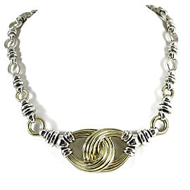 Lagos Signature Caviar Large Knot Necklace Sterling Silver 18K Yellow Gold