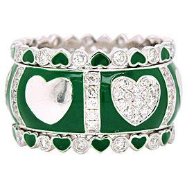 Diamond and Green Enamel White Gold Ring 18 Karat with 1.03 Carat in Diamonds
