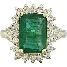3.72 Carat Emerald 14K Yellow Gold Diamond Ring