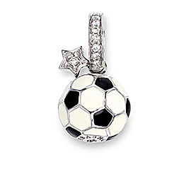 Aaron Basha Soccer Ball 18k White Gold and Diamond Charm