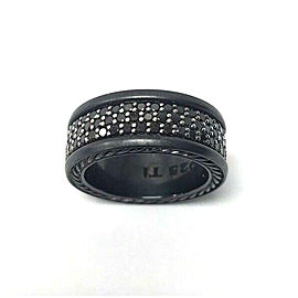David Yurman Black Streamline Titanium Three-row Diamond Men's Ring