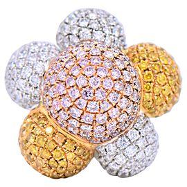 7.21 Carat Natural Fancy Diamonds Ring 18 Karat White Gold