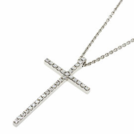 TIFFANY & Co. 18k White Gold diamond Metrocross Large Necklace