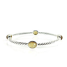 David Yurman Sterling Silver Citrine Four Stone Color Classics Bangle Bracelet