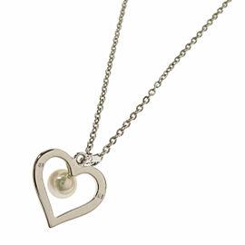 MIKIMOTO Silver Pearl heart Necklace