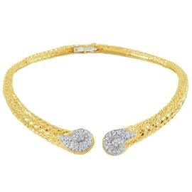 David Webb 18K Yellow Gold and Platinum 9.79 Ct Diamond Collar Necklace