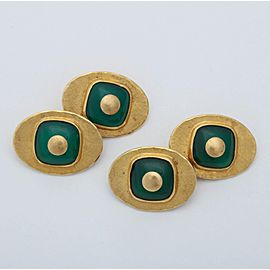 Vintage 18K Yellow Gold Chrysoprase Chalcedony Double-Sided Cufflinks
