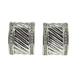 David Yurman Sterling Silver & 1.12ctw Diamond Cigar Band Earrings