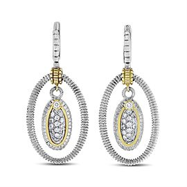 Judith Ripka 18k & Silver 0.65 CT Natural Diamond Oval Drop Earrings
