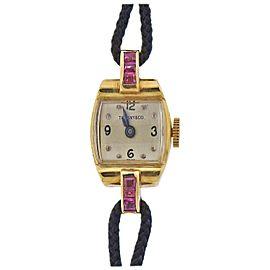 Tiffany & Co Retro Ruby Gold Ladies Watch