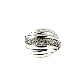 David Yurman Sterling Silver 0.49tcw Diamonds Sculpted Cable Dome Ring Size 7.5