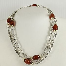 "David Yurman Sterling Silver 18K Yellow Gold 34"" Carnelian Bijoux Figaro Chain Necklace"