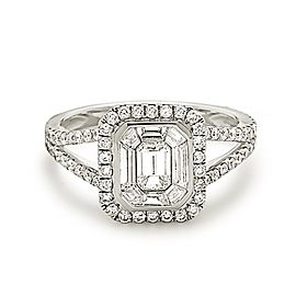 14K White Gold Emerald Cut 1.50ctw. Diamond Engagement Ring Size 6.5