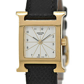 HERMES H watch HH1.201 White Dial GP/Leather Quartz Ladies Watch