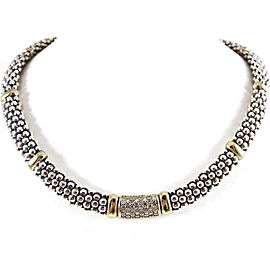 Lagos Sterling Silver 18K Yellow Gold .72tcw Caviar Pave Diamond Necklace