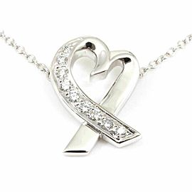 Tiffany & Co. 18K White Gold Diamond Loving Heart Necklace Pendant CHAT-185