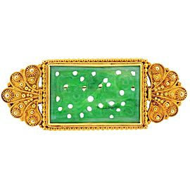 Tiffany & Co. Antique Carved Jade Gold Brooch
