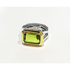 DAVID YURMAN Novella Statement Silver Ring With 18K Gold And Peridot