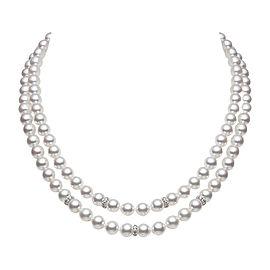 Mikimoto 18K White Gold 0.85ct. Diamonds and Akoya Pearl Double Strand Necklace Set