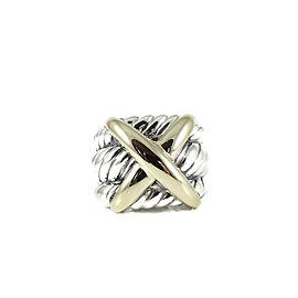 David Yurman Sterling Silver 14K Yellow Gold Wide Triple Row X Dome Ring Size 5.5
