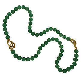 Judith Ripka 925 Sterling Silver & 18K Gold Plated Chalcedony Bead Bracelet Necklace