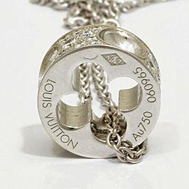 LOUIS VUITTON 18K white gold Diamond Pandanti fan Necklace CHAT-743