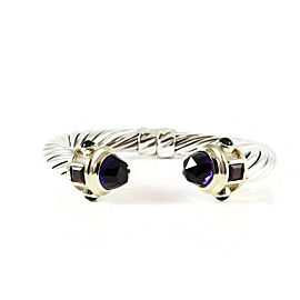 David Yurman Sterling Silver 14K Yellow Gold 10mm Amethyst Rhodolite Garnet Green Onyx Renaissance Bracelet
