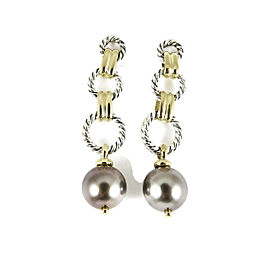 David Yurman Sterling Silver 18K Yellow Gold Tahitian Pearl Figaro Chain Drop Earrings