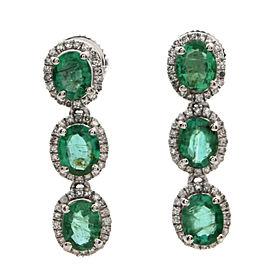 950 Platinum 1.92ctw Emerald and 0.26ctw Diamond Dangle Earrings