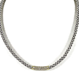 "Lagos Sterling Silver 18K Yellow Gold 16"" .61tcw 4mm Diamond Caviar Necklace"