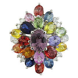 6.60 Carat Sapphire 14K White Gold Diamond Ring