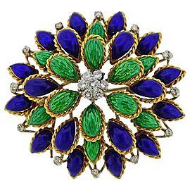 Diamond Enamel Gold Brooch Pin
