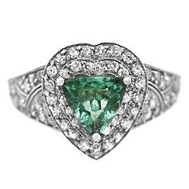 14k White Gold Diamond Green Stone Ring