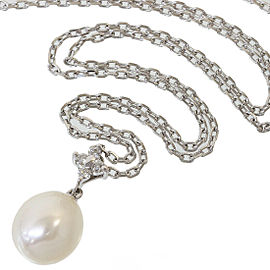 MIKIMOTO 18K White Gold 0.04ct Diamond & Pearl Design Pendant Necklace