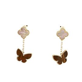 Van Cleef & Arpels Lucky Alhambra Earrings 18K Yellow Gold with Mother of Pearl and Tiger Eye
