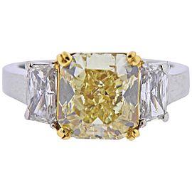 GIA 4.04 Carat Fancy Yellow VS1 Diamond Platinum Gold Engagement Ring