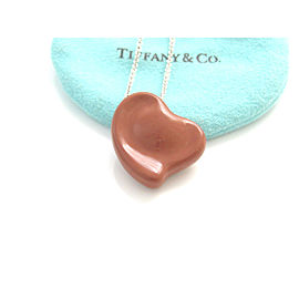 Tiffany & Co. Silver Large Peretti Carved Heart Jasper Gemstone Necklace