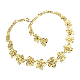 Tiffany & Co. 18K Yellow Gold Wild Rose Dogwood Flower Choker Necklace