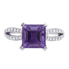 Tacori Platinum Amethyst, Diamond Ring Size 6.5