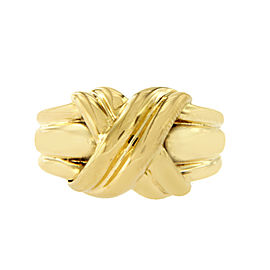 """Tiffany & Co. 18K Yellow Gold Large Knot """"X"""" Ring Size 6.5"""