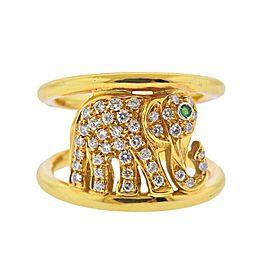 Diamond Emerald Gold Elephant Band Ring