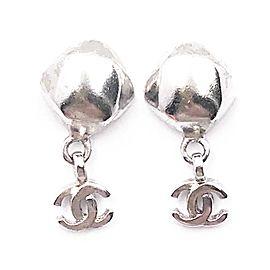 Chanel CC Sterling Silver Rhombus Dangle Earrings