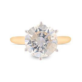 14K Yellow & White Gold Diamond Solitaire Ring Size 7.5