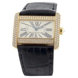 Cartier Divan WA301071 18K Yellow Gold & Leather 32mm x 25mm Watch