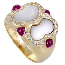 Faraone Mennella 18K Yellow Gold 0.30ct Diamond Ruby and Mother of Pearl Ring Size 6